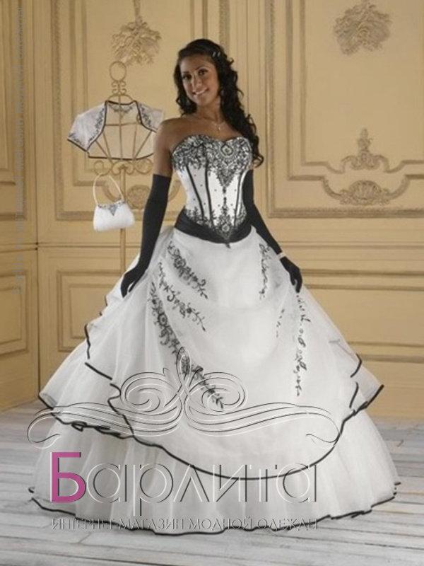 Фото свадебных черно-белых платьев
