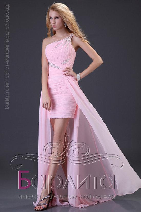 d612116f40a Не дорого Короткое платье со шлейфом