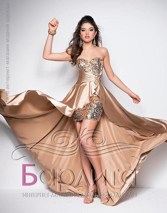 57aba6399ab Короткое платье со шлейфом  quot Сказка quot  Сказочной красоты сверкающее  платье. Выполнено из атласа